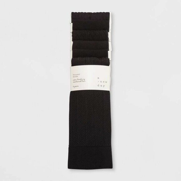 A New Day Trouser Socks One Size 6 Pair Black